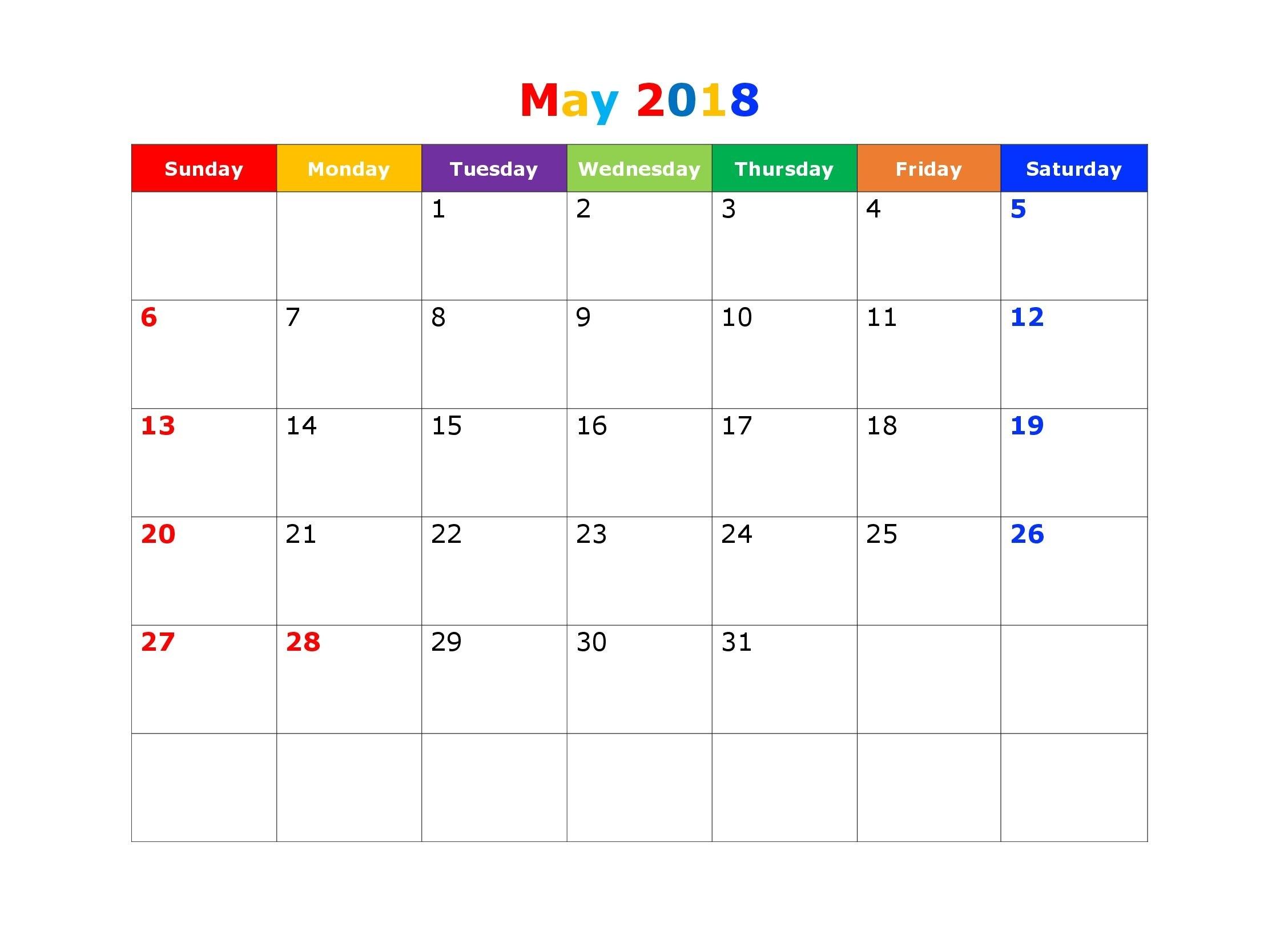 may 2018 blank calendar