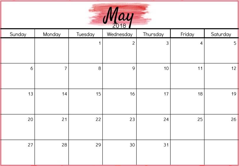 May 2018 Calendar PDF, May 2018 Calendar Excel