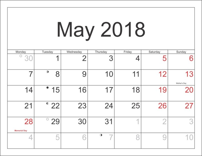 May 2018 Holiday Calendar, May 2018 calendar with Holiday