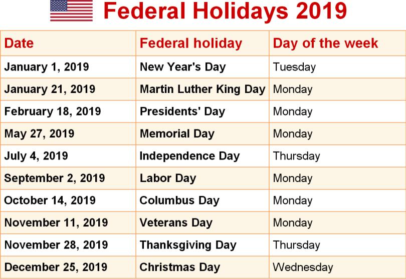 Holiday Calendar 2019 USA