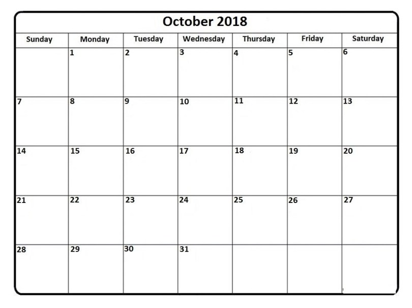 October 2018 Calendar * October 2018 Calendar Printable intended for Calendar October 2018 Printable