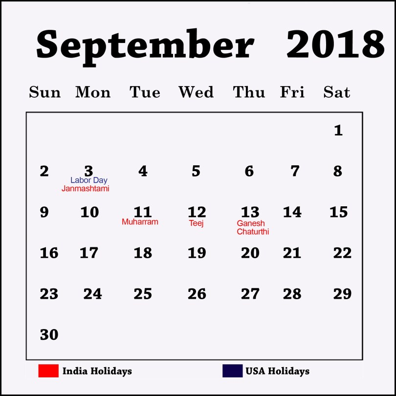September 2018 Calendar with Holiday