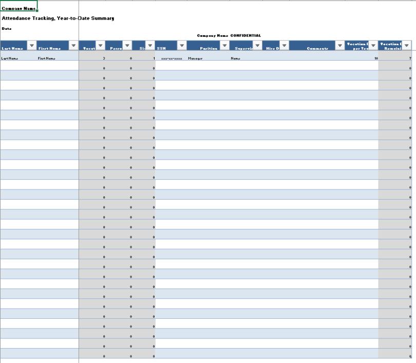 Printable Attendance Tracker