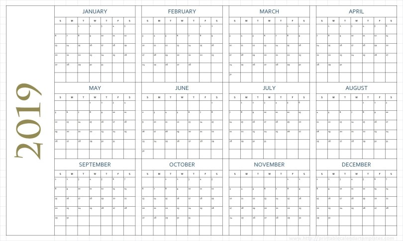 Blank Calendar Pages 2019