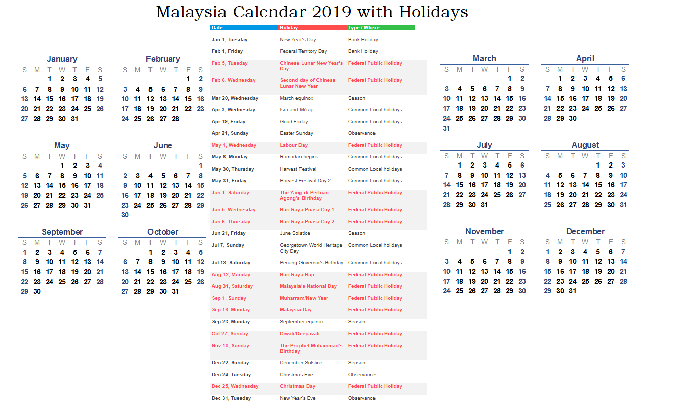 malaysia national holiday 2019 calendar