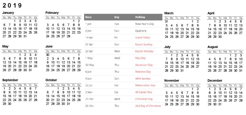 Printable 2019 Calendar with Sweden Holidays