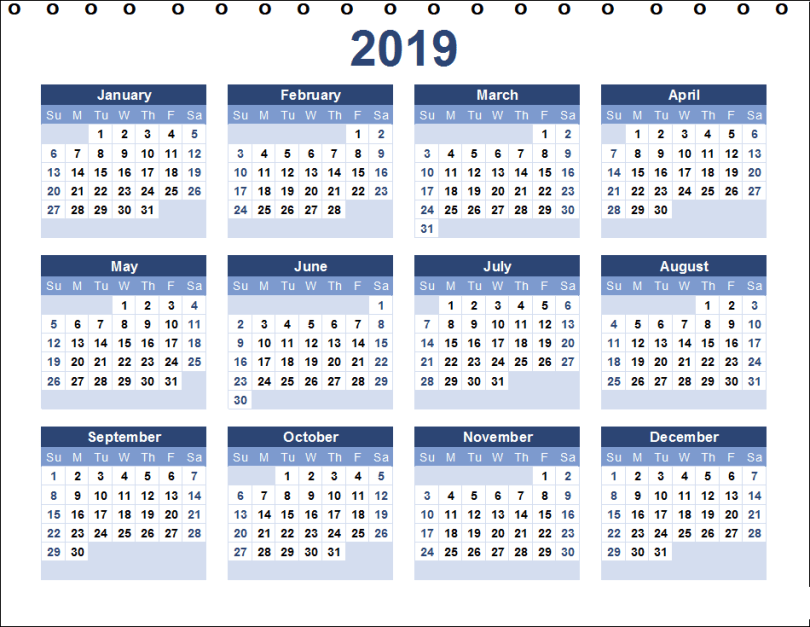 Staples Desk Calendar Template 2019
