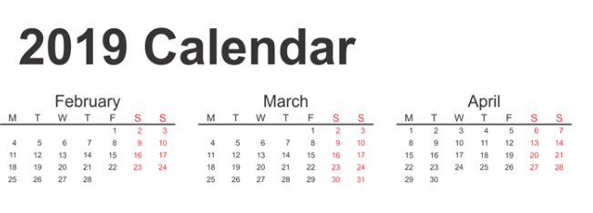 3 Month Calendar 2019 February March April