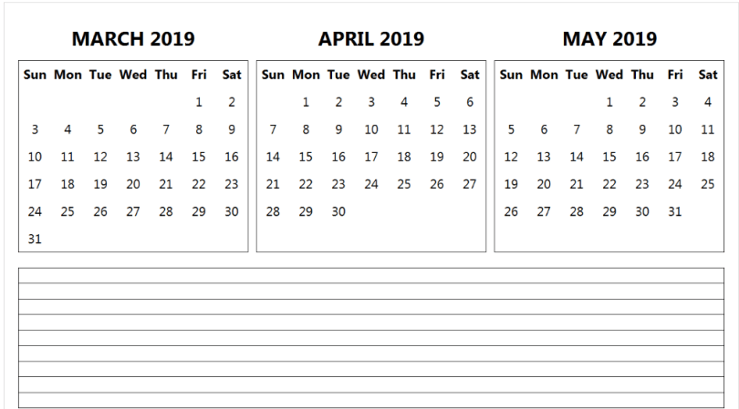 3 Month Calendar 2019 March April May