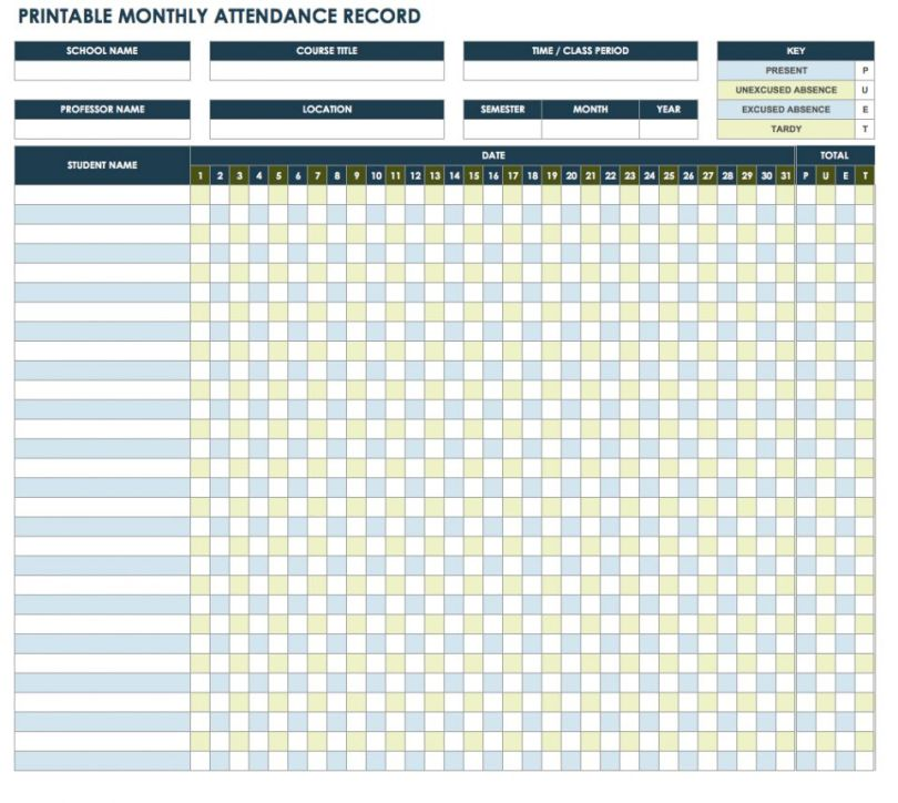 Attendance Sheet Format in Excel