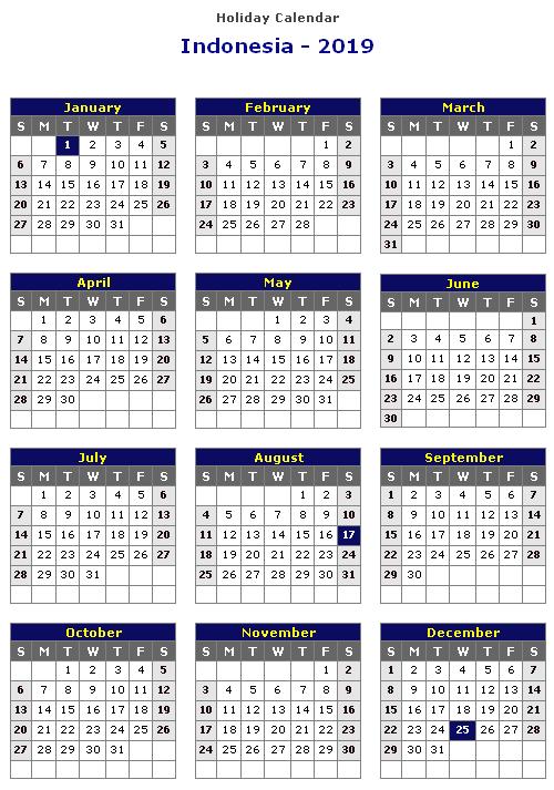 Indonesia Calendar 2019 Printable