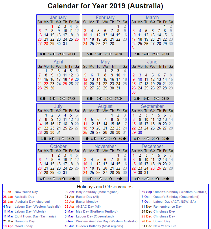 Printable Calendar 2019 with QLD Holidays