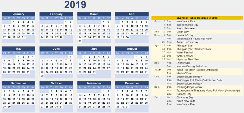 Printable Calendar 2019 with Myanmar Holidays