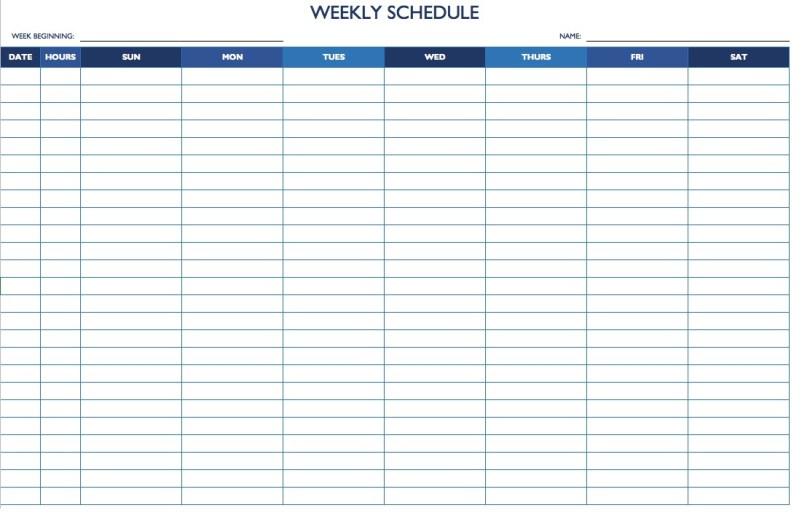 Week Hour Calendar