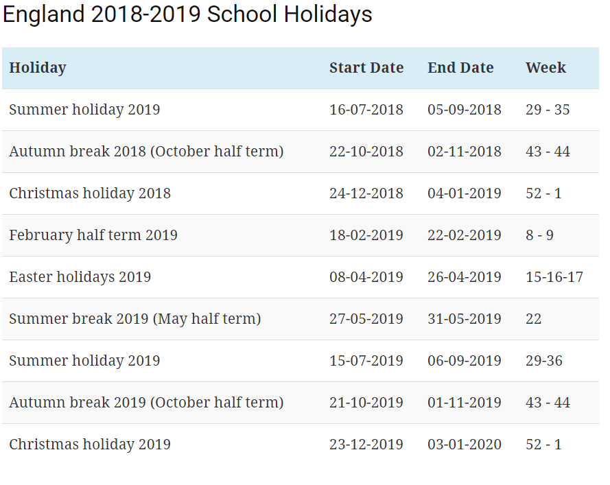 uk school holidays 2018 19 calendar