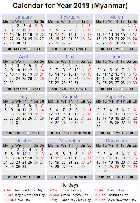 Myanmar Calendar 2019 Printable