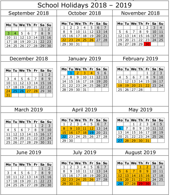 nsw school holidays 2018 19 calendar