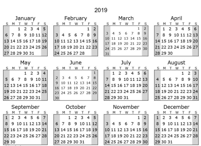 Staples Desk Calendar 2019