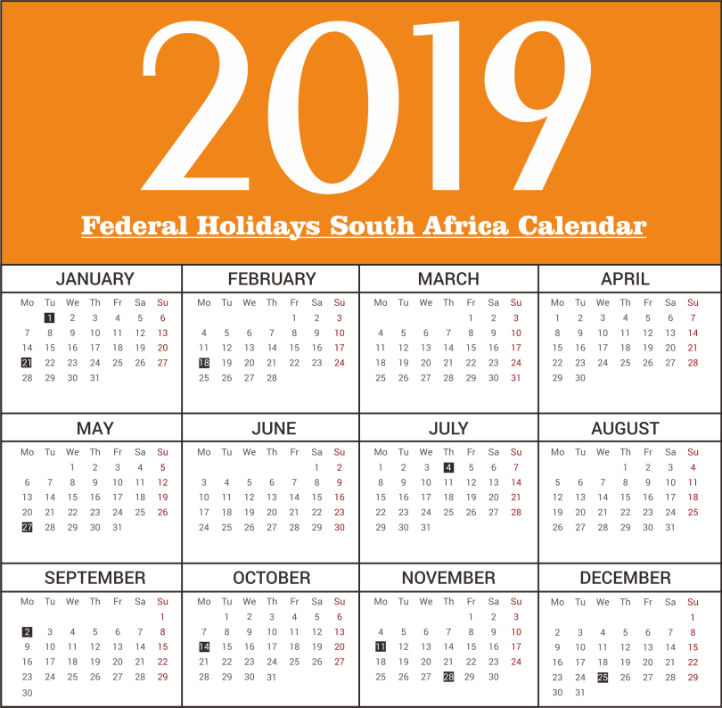 South Africa Federal Holiday 2019 Printable