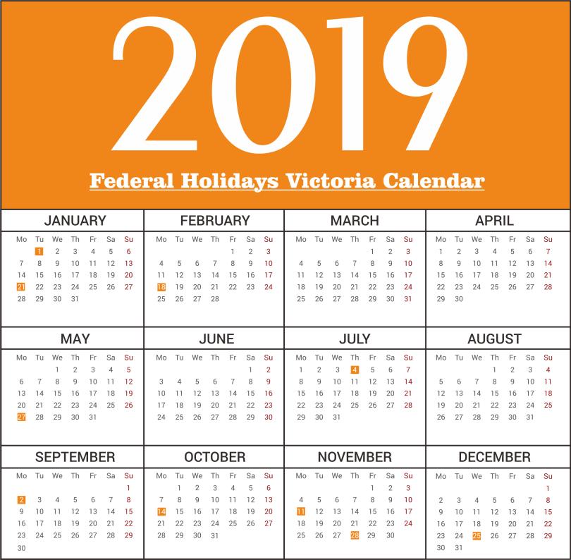 Victoria Federal Holidays 2019 Calendar