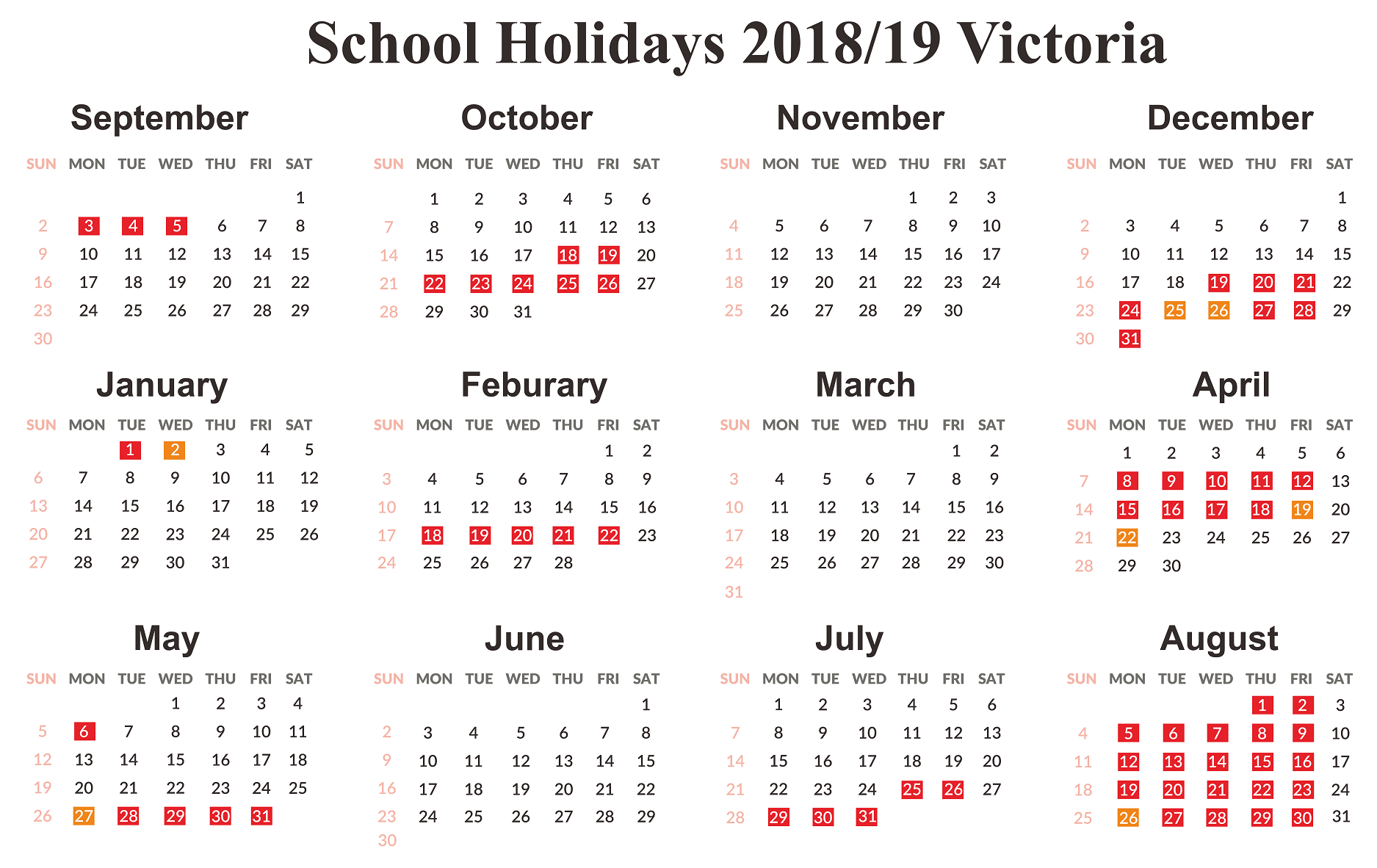 victoria school holidays dates 2019
