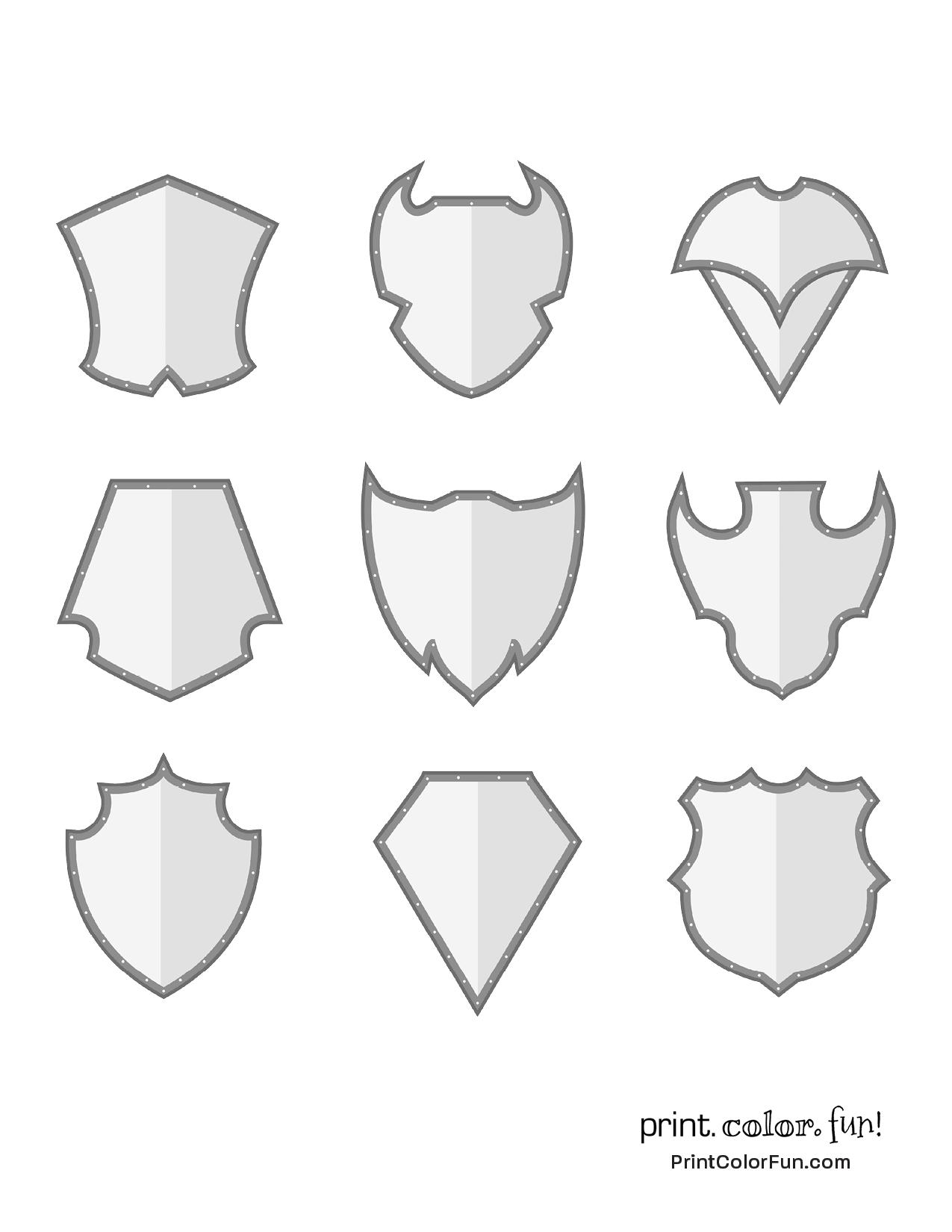 Set of shaded shields