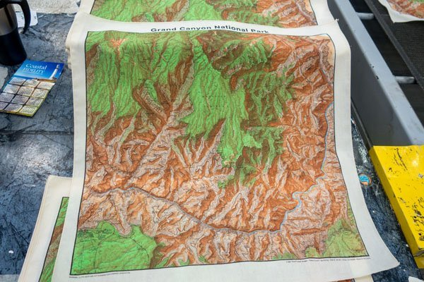 screen printed topographical map