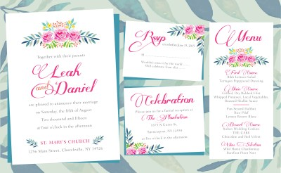 Floral Wedding Invitations – PRINTING by Penny Lane
