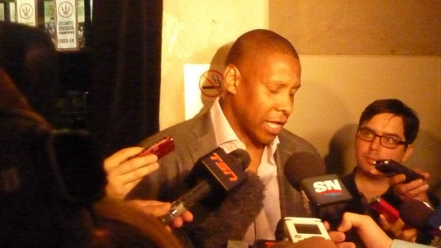 Ujiri scrums with media