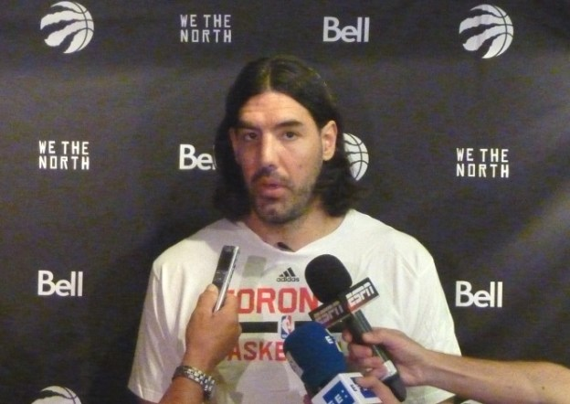 Luis Scola with media