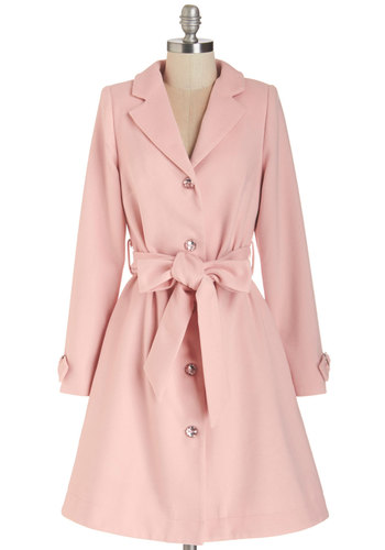 Creative Consultant Coat - Long, Pink, Solid, Buttons, Pockets, Belted, Pastel, Long Sleeve, Exclusives, Collared, 3, Press Placement, Holiday Party