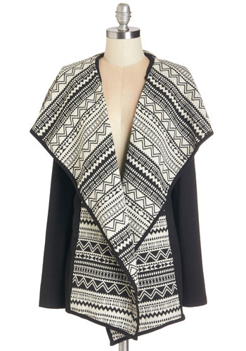 Print Designer Cardigan - Knit, Woven, Black, White, Print, Pockets, Casual, Long Sleeve