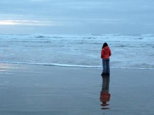 Contemplative along the Oregon coastline