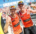Alexander Brouwer and Robert Meeuwsen of Netherland celebrate during the Swatch Beach Volleyball Major Series in Porec, Croatia on June 6, 2015.