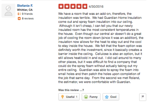 guardian yelp whittier spray foam insulation