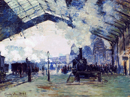 La Gare St Lazare, le train de Normandie, 1877