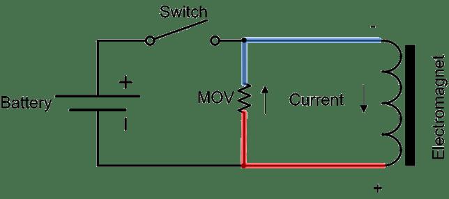 back emf suppression using MOV circuit diagram