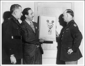 Walt Disney with Mickey Mouse gasmask, 1942