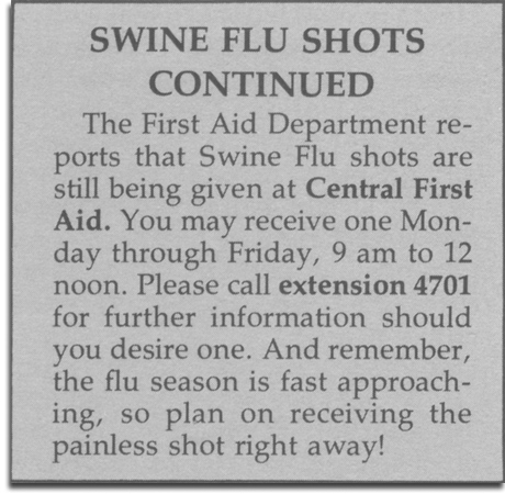 Eyes & Ears swine flu notice, December 1976