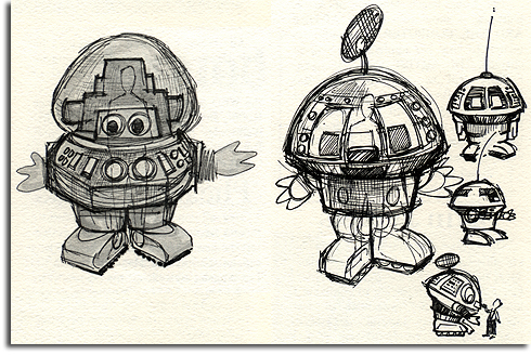 Go-Bot Imagineering sketch, EPCOT, 1983