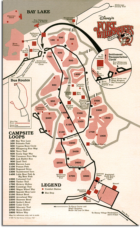 Fort Wilderness map, 1988