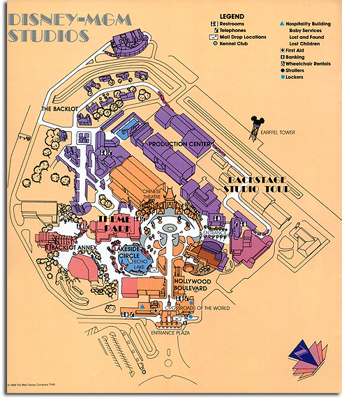 Map of the Disney-MGM Studios, 1989
