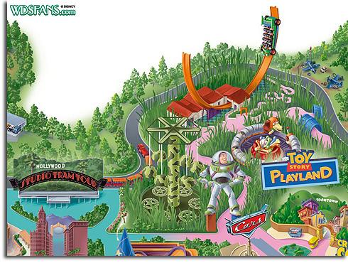 Walt Disney Studios map with Toy Story Playland