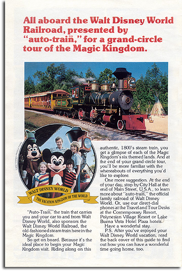 auto-train ad for the Walt Disney World Railroad, 1977
