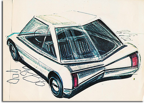 Rendering of golf cart for Progress City/EPCOT by George McGinnis