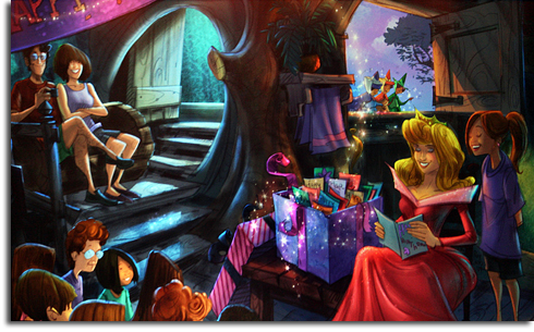 Rendering of the Aurora birthday party meet-and-greet in the new Walt Disney World Fantasyland expansion