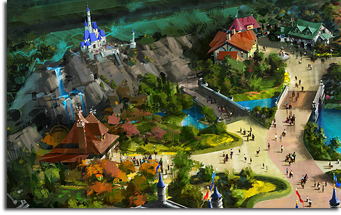 Closeup of Belle's Village and the Beast's Castle from the revised rendering of Walt Disney World's Fantasyland expansion