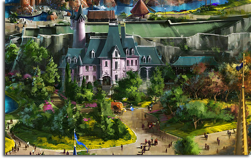 Closeup of Cinderella's Chateau from the revised rendering of Walt Disney World's Fantasyland expansion