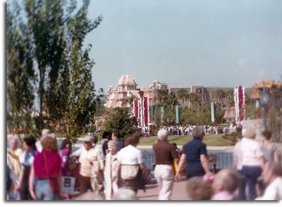 World Showcase with Denmark pavilion bathrooms, 1982