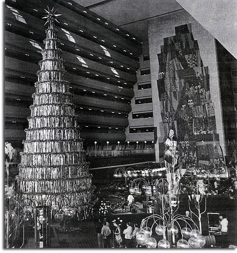 Christmas tree in Contemporary Resort, 1971